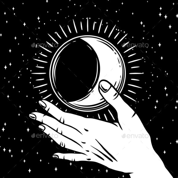 Open Hand with Vintage Moon - Religion Conceptual