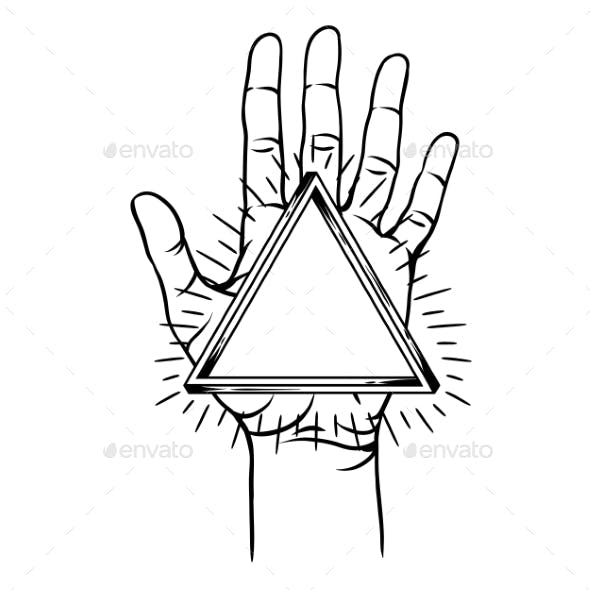 Open Hand with Infinite Triangle Symbol