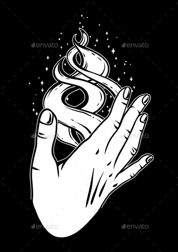 Open Hand with Magic Fire - Religion Conceptual