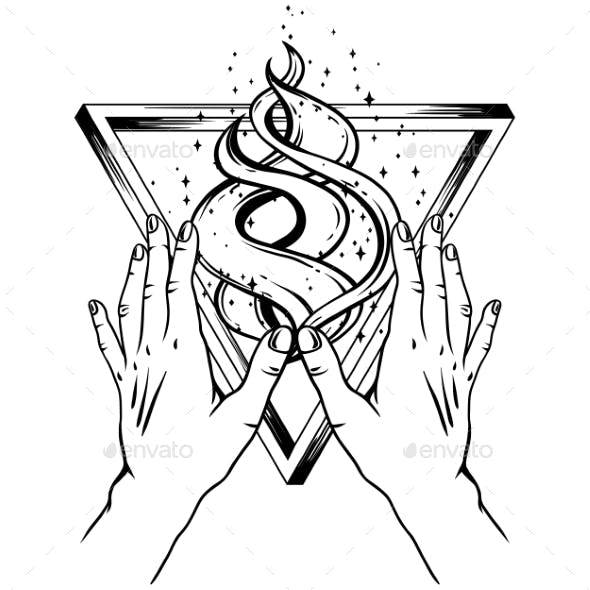 Open Hands with All Seeing Eye and Triangle