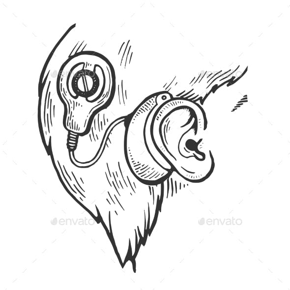 Cochlear Implant Engraving Vector Illustration