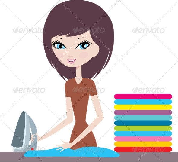Young cartoon woman irons clothes - Characters Vectors