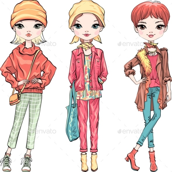 Set Fashion Girl in Autumn Clothes - People Characters
