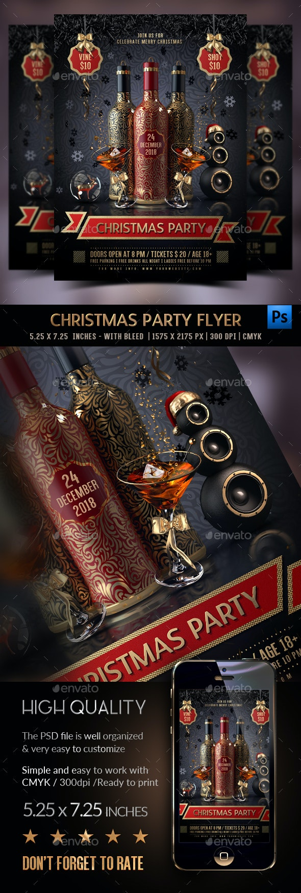 Christmas Drinks Party Flyer - Clubs & Parties Events