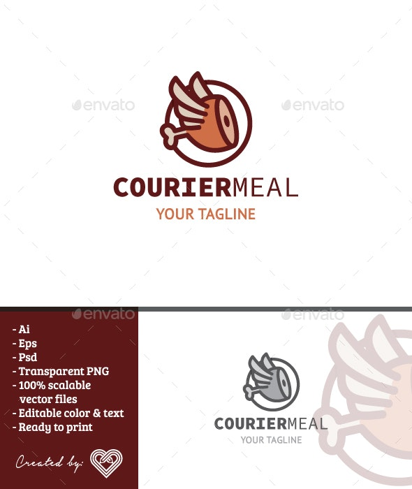 Courier Meal - Food Logo Templates