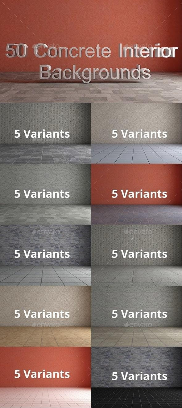 Pack of 50 Concrete Interior Backgrounds - Backgrounds Graphics