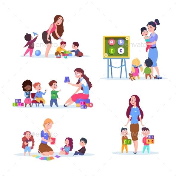 Kids in Kindergarten - People Characters