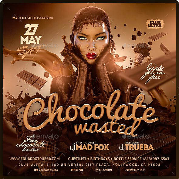 Chocolate Wasted Party Flyer