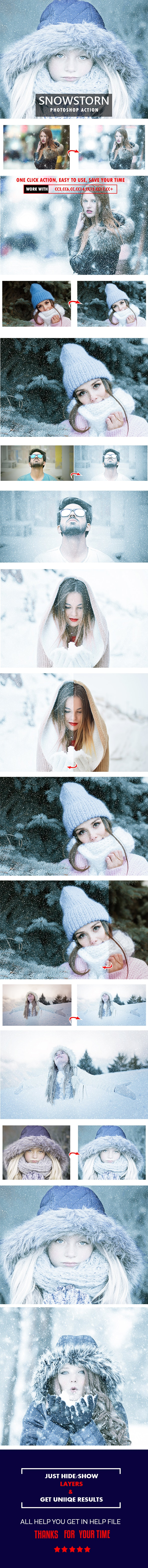 Snowstorm Photoshop Action - Photo Effects Actions