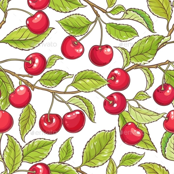 Cherry Branch Vector Pattern - Food Objects