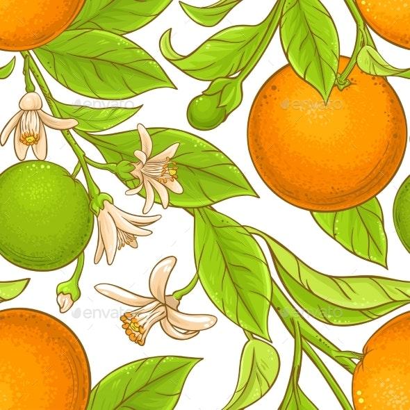 Orange Branch Vector Pattern - Food Objects