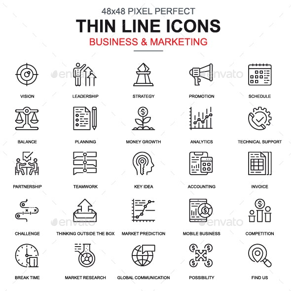 Line Business and Marketing Icons - Icons