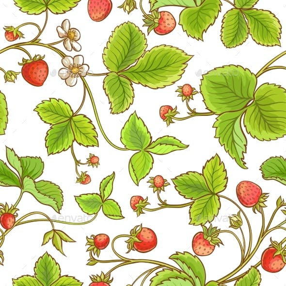 Strawberry Plant Vector Pattern