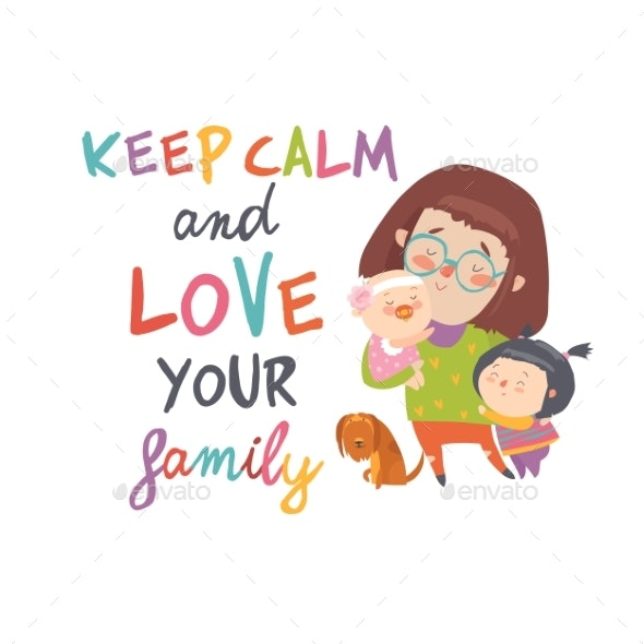 Cartoon Young Mother with Her Children - People Characters