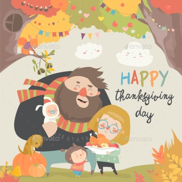 Vector Illustration of a Cartoon Happy Family - People Characters