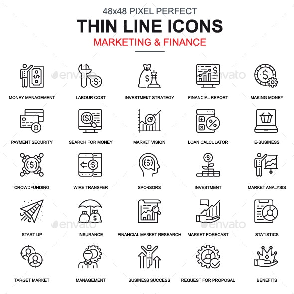 Line Marketing and Finance Icons - Icons