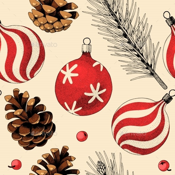 Seamless Pattern with Pine Cones and Xmas Toys - Backgrounds Decorative