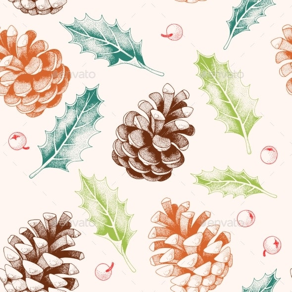 Seamless Pattern with Pine Cones and Holly - Backgrounds Decorative