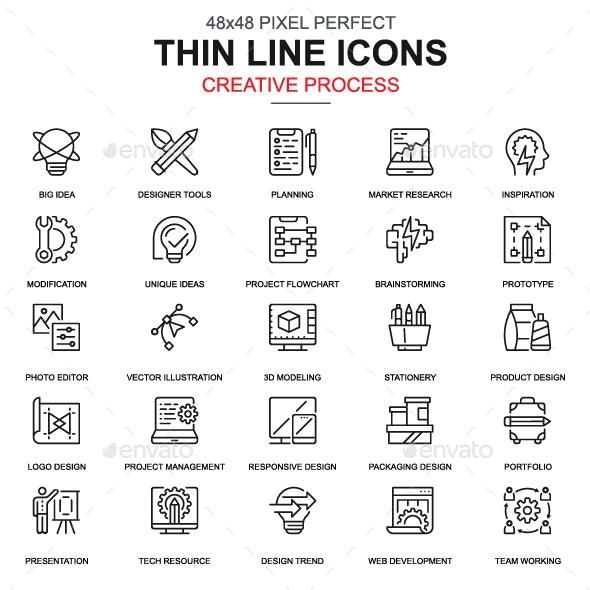 Line Creative Process Icons - Icons