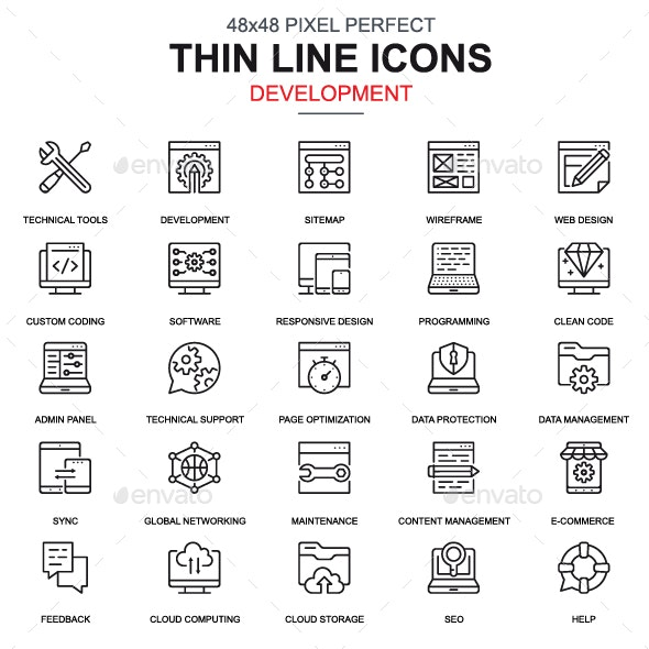 Line Web Design and Development Icons - Icons