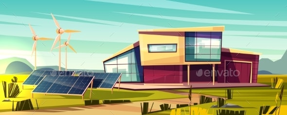 Renewable Energy for House Cartoon Vector Concept - Industries Business