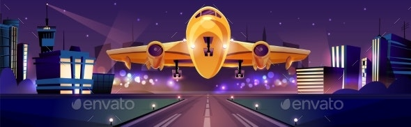 Airplane Taking Off From Airport Runaway Vector - Travel Conceptual