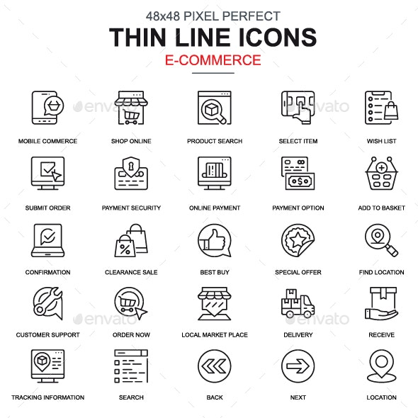 Line Shopping and E-commerce Icons - Icons