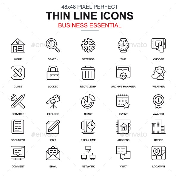 Line Business Essential Icons - Icons