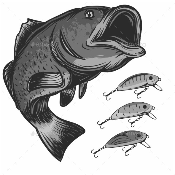 Fish Fishing Logo and Lures Isolated on White - Animals Characters