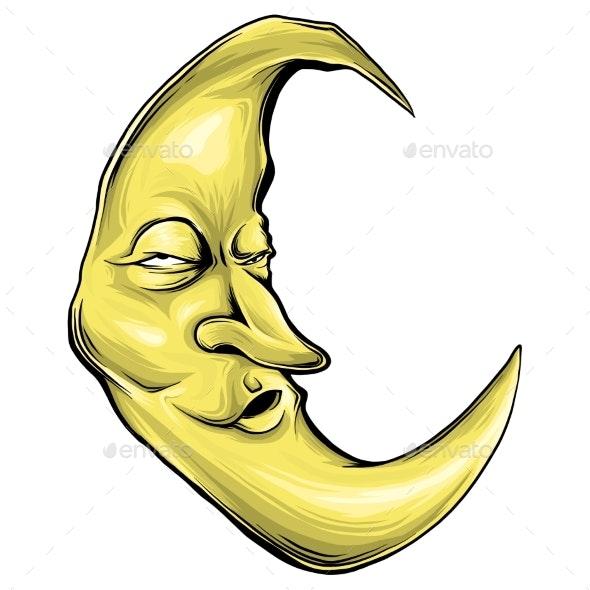 Cartoon Crescent Moon With Face Vector - Miscellaneous Vectors