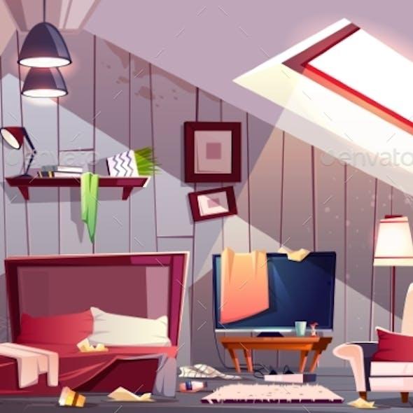 Messy Garret Bedroom Cartoon Vector Illustration