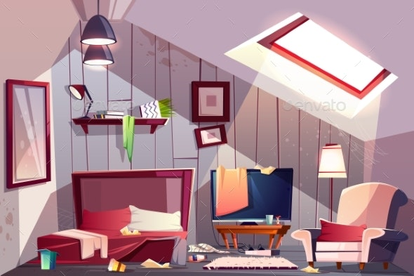 Messy Garret Bedroom Cartoon Vector Illustration - Conceptual Vectors