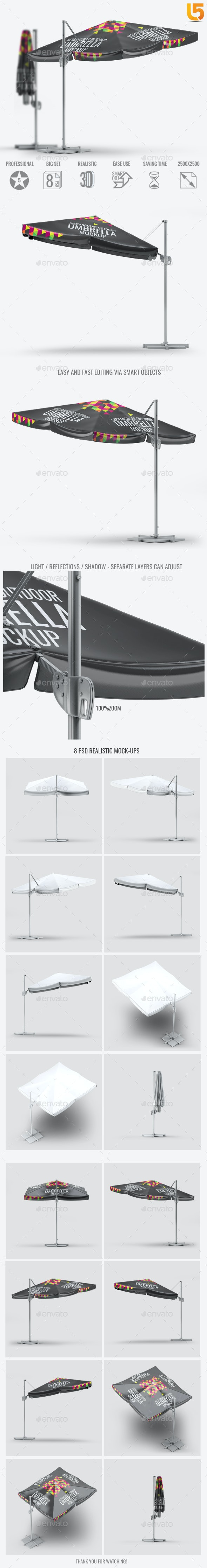Rectangular Outdoor Umbrella Mock-Up - Miscellaneous Print