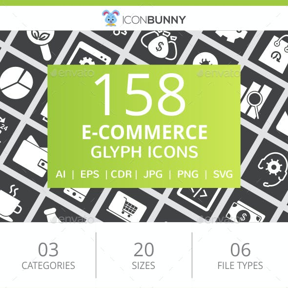 158 E-Commerce Glyph Inverted Icons