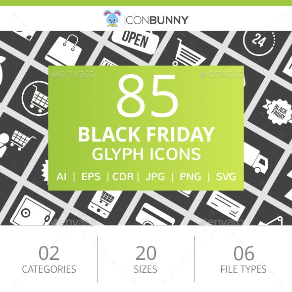 85 Black Friday Glyph Inverted Icons