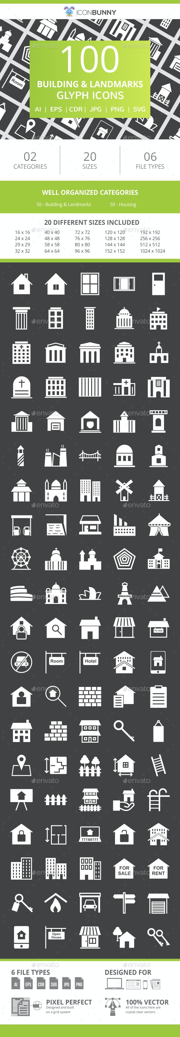 100 Building & Landmarks Glyph Inverted Icons - Icons