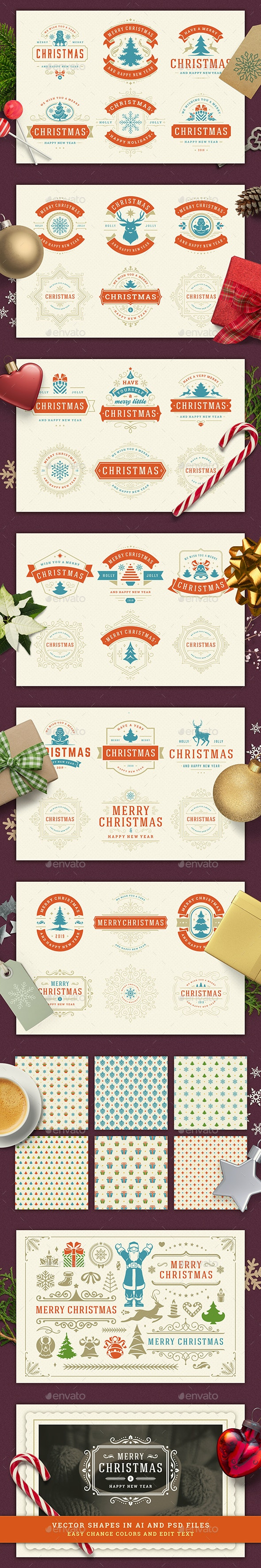 Christmas Retro Design Set - Badges & Stickers Web Elements