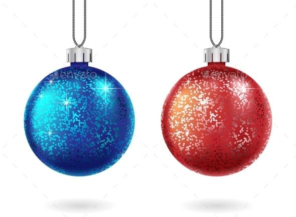 Set of Shiny Christmas Red and Blue Ball Isolated - Christmas Seasons/Holidays