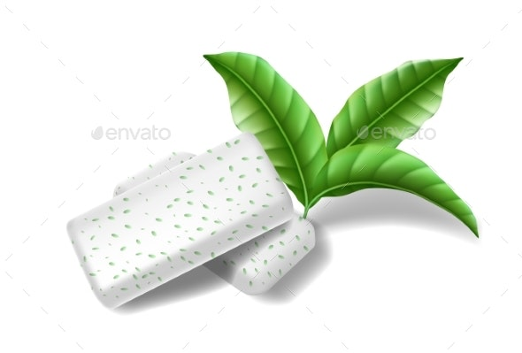 Chewing Pads Gum with Mint Leaves Isolated - Food Objects