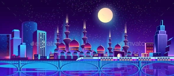 Vector Night City Background with Muslim Mosque - Backgrounds Decorative