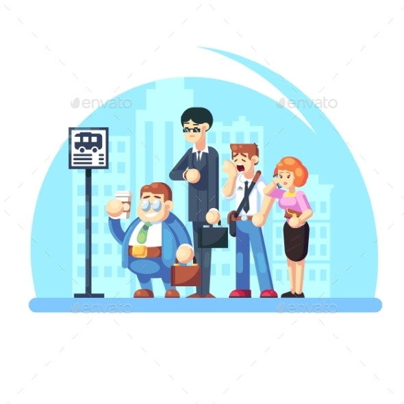 Group of Diverse People Waiting for the Bus - People Characters