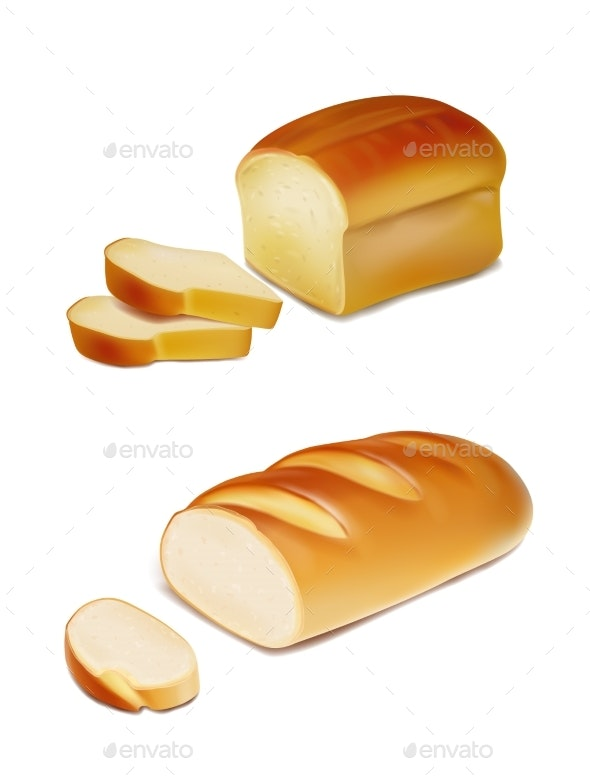 Bread Slices and White Loaf Realistic Illustration - Food Objects