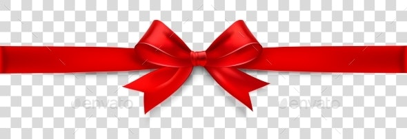 Red Satin Bow Isolated on Background - New Year Seasons/Holidays