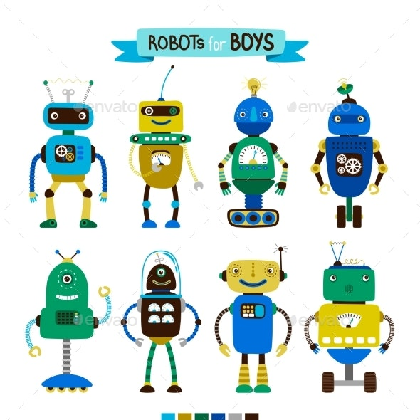 Cartoon Robots Set for Boys - Technology Conceptual