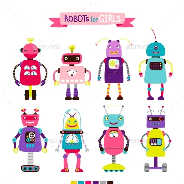 Cartoon Robots Set for Girls - Miscellaneous Vectors