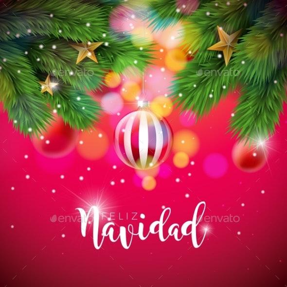 Vector Christmas Illustration with Spanish - Christmas Seasons/Holidays