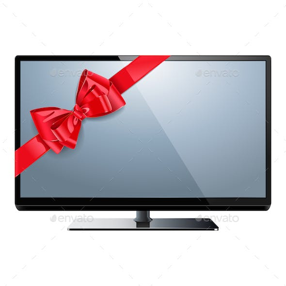 Vector Television with Red Bow