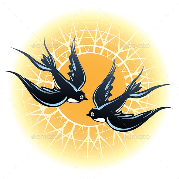 Two Flying Swallows - Animals Characters