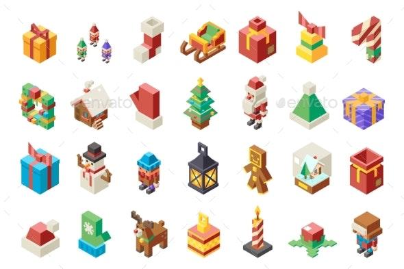 Christmas Polygonal New Year Isometric Items - Christmas Seasons/Holidays