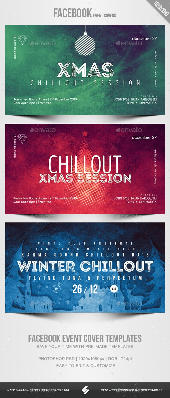 Electronic Music Party 05 - Facebook Christmas Event Cover Templates - Social Media Web Elements